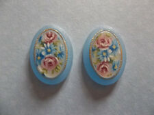 Vintage Cameos 18X13mm Oval Floral Rose Cabochons Matte Crystal Blue Base German