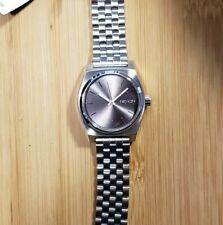 Nixon Time Teller Watch With 31mm Silver Face & Silver Bracelet