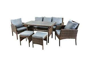 6Pcs Rattan Garden Furniture Set Chairs Sofa Stools Table Outdoor Conservatory
