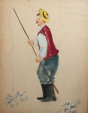 1961 Theatre/opera costume design fisherman watercolor drawing signed
