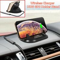 Car Dashboard Mount Qi Wireless Fast Charger Base HUG Navigation Holder Stand