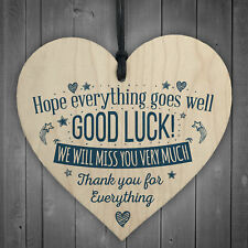 Good Luck Leaving Colleague Friend Teacher Work Job Gift Wood Sign Present