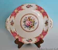 "Royal Albert Lady Carlyle Cake Plate 10.5"" Handled England Pink"