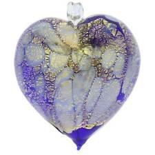 GlassOfVenice Murano Glass Spotted Heart Christmas Ornament - Blue Gold