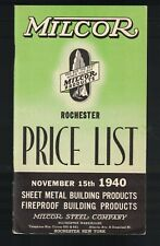Milcor Building Products Catalog & Price List 1940 Fireproof Sheet Metal