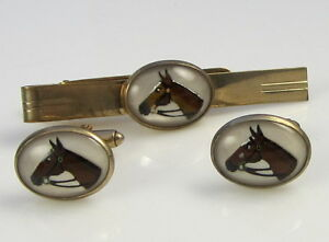 Vintage Reverse Painted Horse Crystal Gold Tone Cufflinks Tie Bar Cuff Links