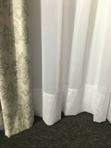 WHITE Sheer Curtain -Hemmed Voile-FAIRLIGHT 213 cm drop Rod Pocket-short ends