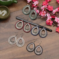 Vintage Bohemia Boho Hook Ethnic Carved Geometry Women Waterdrop Dangle Earrings
