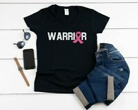 Womens V-neck Warrior T Shirt PINK Ribbon Breast Cancer Awareness Marathon Tee