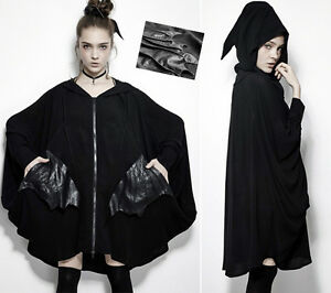 Manteau gilet oversize gothique punk lolita chauve-souris capuche elfe PunkRave