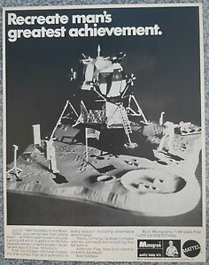 VINTAGE 1970 MONOGRAM EAGLE LUNAR MODULE MOON FOOTSTEPS MODEL ADVERTISEMENT