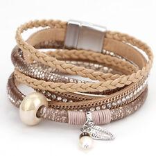 Vintage Women Bohemian Leather Rhinestone Pearl Ceramic Wrap Bracelet Jewelry
