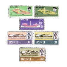 BRUNEI, SCOTT # 156-158(3)+159-161(3), 2-COMPLETE SETS 1969 BUILDINGS ISSUE MNH