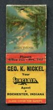 Rochester IN  1941 Indiana Game Fish Laws on Matchbook Cover ~ Sinclair Oil