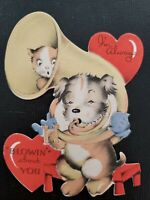 """Vtg Gibson Valentine Greeting Card Diecut Dog Kitten """"Blowin""""About You,1930-40s"""