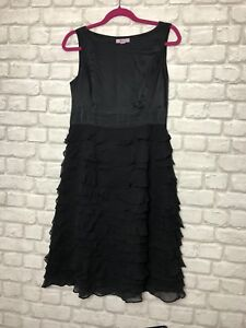 Monsoon Ladies Dress Size 12 Black 100% Silk Ruffle Tiered Lined Party Evening