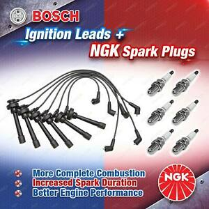 6 x NGK Spark Plugs + Bosch Ignition Leads Kit for Mitsubishi Triton ML KA9 KB9