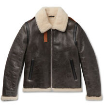 ACNE STUDIOS Shearling-Lined Textured-Leather Jacket IT 46 Brown NWT $2500