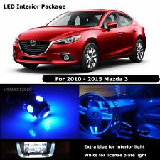7PCS Blue Interior LED Bulbs for 2010 - 2015 Mazda 3 Mazda3 White for License