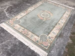VINTAGE 5X8 ART DECO AUBUSSON CHINESE RUG PLUSH CARPET HAND KNOTTED WOOL
