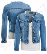 Womens Size 16 12 10 8 14 Stretch Fitted Denim Jacket Frayed Jean Jackets Blue