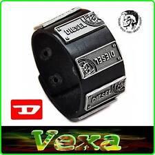 New DIESEL Brave Mens Luxury Bracelet Genuine Leather Black Wristband Surf BD34