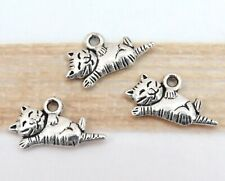 12 TABBY CAT Charms, Antique Silver Animal Theme Charm Set Lot 20x11mm