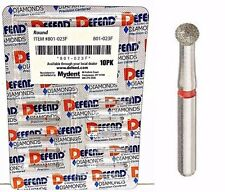 DIAMOND BURS ROUND #801-023F FINE RED 10/PK BUR DEFEND