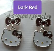 Hello Kitty, Stud Earrings, Ring, Dark Red, Authentic Sanrio, Silver plated
