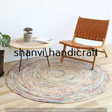 Natural Hand Braided Jute Round Indian Handmade Room Floor Decor 8 Feet Area Rug
