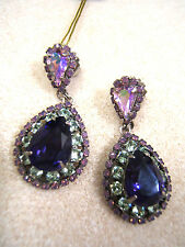 NEW Purple Green Pink  Crystal Rhinestone Sorrelli Pierced Earrings Tear Drop