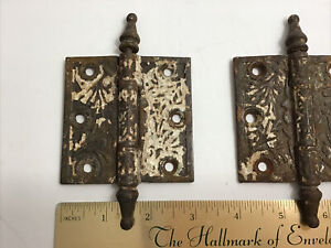 """Two Antique 3"""" x 3"""" Steeple Cast Iron Door Hinge Architectural Salvage Hardware"""