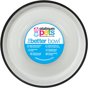 Platinum Pets Embossed Non-Tip Stainless Steel Cat/Dog Bowl
