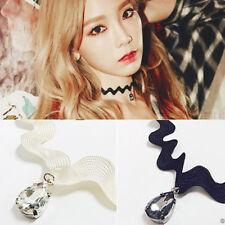 2 pcs Vintage Retro Black Lace Crystal Charm Pendant Choker Necklace Gothic