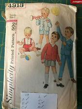 Vintage Sewing Pattern Simplicity 4913 (1960's) Toddler Jacket Shirt Pants Sz 2