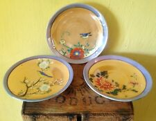 Japanese vintage look set 3 floral birds bird handpainted tea saucers plates