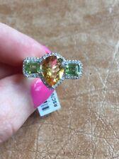 14K WHITE GOLD DIAMOND PEAR CITRINE PERIDOT COCKTAIL ENGAGEMENT RING
