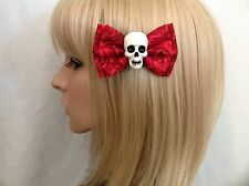 Rose skull hair bow clip rockabilly pin up girl psychobilly punk gothic rock red