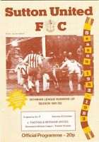 Sutton United v Tooting & Mitcham United 1982/3 (23 Oct) Isthmian League