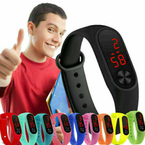 Boy Girl Kids Silicone LED Display Waterproof Watch Electronic Digital Wrist New