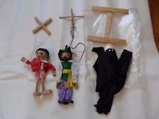 annee 70 3 Marionnette à fils  Pierrot  21 cm , personnage 27 cm et fantôme