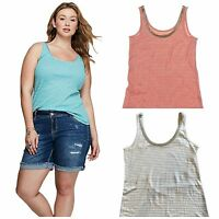 Lane Bryant Women's Embellished Metallic Ribbed Tank Top