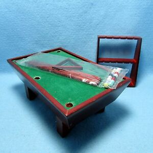 Dollhouse Miniature Wood Pool Table with Accessories in Mahogany CLA91323