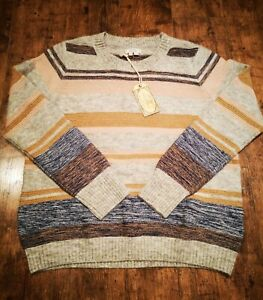 NEW Fat Face FatFace Grey Beige Tweed Stripe Wool Blend Knitted Jumper size 14