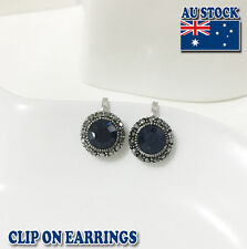 18ct White Gold Plated Clip on Earrings With Big Blue Crystal