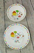 Set of 2 Vintage Anacapa Melamine Ware Children's Alphabet & Numbers Bowl