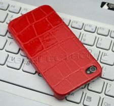 New Red crocodile Skin PU stick back Hard Case cover for iPhone 4G 4S