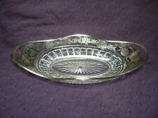 Antique Oval Relish Dish Glass Sterling Silver Rim and Overlay