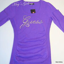 Guess Jeans Sweater T shirt  sweat  Top Blouse Pullover  Logo Tee  Purple NWT L
