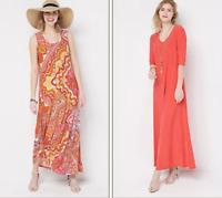 Attitudes by Renee Regular Set of 2 Maxi Dresses - Mosaic/Tomato - XXSmall